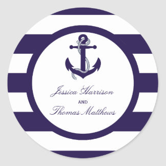 The Nautical Anchor Navy Stripe Wedding Collection Round Sticker