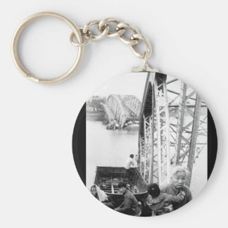 The old and the young flee Tet offensive fighting_ Basic Round Button Key Ring