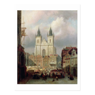The Old Market Place at Prague, 1881 (oil on canva Postcard