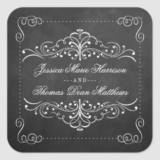 The Ornate Chalkboard Wedding Collection - Seals Square Sticker