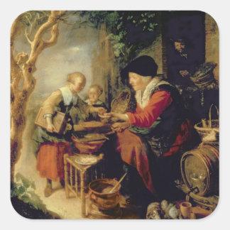 The Pancake Seller, 1650-55 (oil on panel) Square Sticker