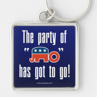 The Party of No Has Got To Go! Silver-Colored Square Key Ring