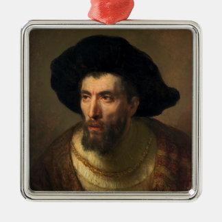 The Philosopher  Rembrandt baroque portrait art Silver-Colored Square Decoration