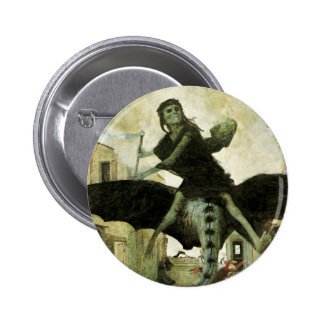 The Plague by Arnold Bocklin, Vintage Symbolism 6 Cm Round Badge