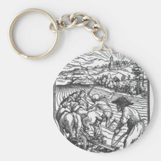 The Plowman by Hans Holbein the Younger Basic Round Button Key Ring