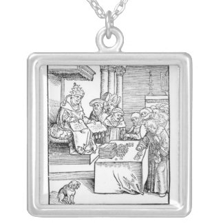 The Pope selling Indulgences Square Pendant Necklace