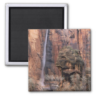 The Pulpit and ephemeral waterfall 2 Square Magnet