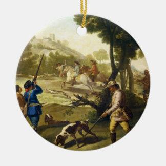 The Quail Hunting Francisco José Goya masterpiece Round Ceramic Decoration