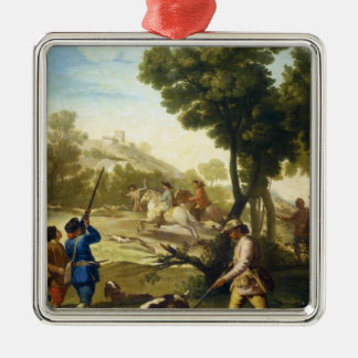 The Quail Hunting Francisco José Goya masterpiece Silver-Colored Square Decoration