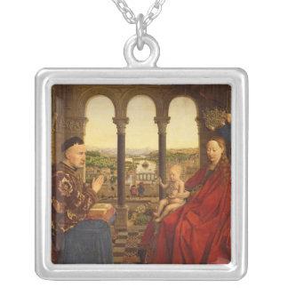 The Rolin Madonna , c.1435 Square Pendant Necklace