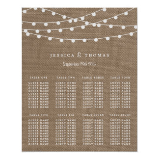 The Rustic Burlap String Lights Wedding Collection Poster