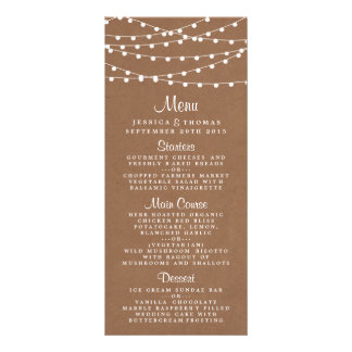 The Rustic Kraft String Lights Wedding Collection Personalised Rack Card