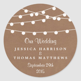 The Rustic Kraft String Lights Wedding Collection Round Sticker