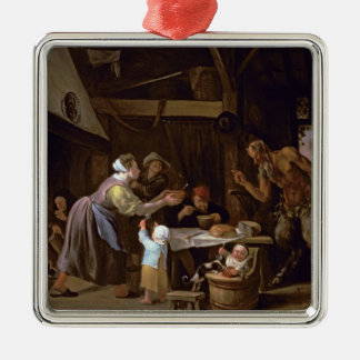 The Satyrs and the Family Silver-Colored Square Decoration