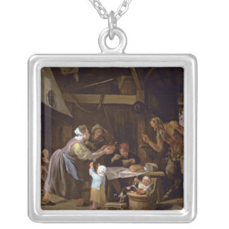 The Satyrs and the Family Square Pendant Necklace