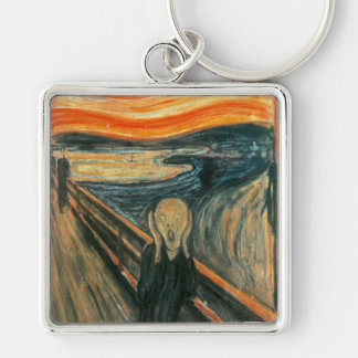 The Scream Edward Munch Screaming Silver-Colored Square Key Ring