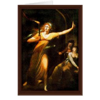 The Sleepwalking Lady Macbeth By Füssli Johann Hei Greeting Card