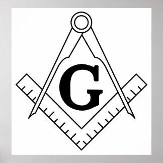 The Square and Compasses Freemasonry Symbol Poster
