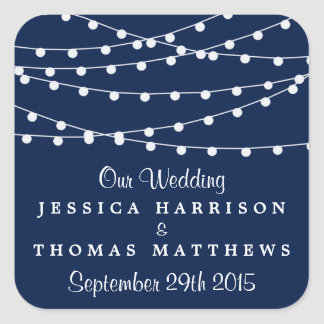 The String Lights On Navy Blue Wedding Collection Square Sticker