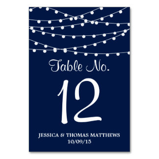 The String Lights On Navy Blue Wedding Collection Table Cards