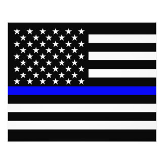 The Thin Blue Line American Flag Decor Photographic Print
