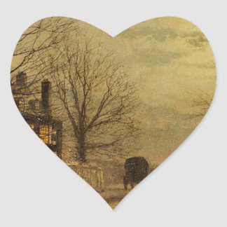 The Turn of the Road by John Atkinson Grimshaw Heart Sticker
