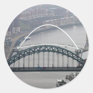 The Tyne Bridge and Millennium Bridge Round Sticker