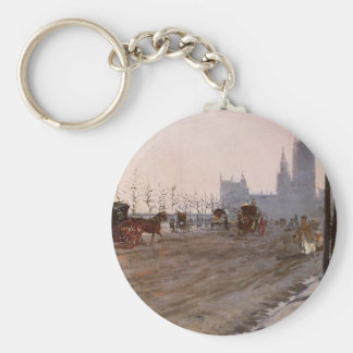 The Victoria Embankment, London by Giuseppe Basic Round Button Key Ring