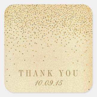 The Vintage Glam Gold Confetti Wedding Collection Square Sticker