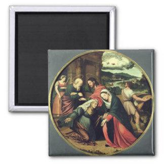 The Visitation (oil on panel) 2 Square Magnet