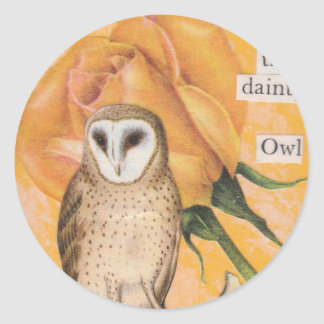 The Yellow Rose, and the Dainty Owl Round Sticker