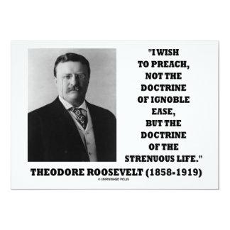 Theodore Roosevelt Preach Doctrine Strenuous Life 13 Cm X 18 Cm Invitation Card