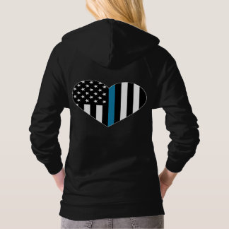 Thin Blue Line American Flag Hooded Pullover