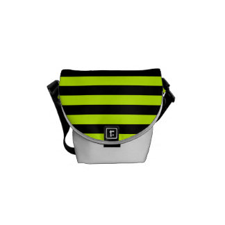 Thin Stripes - Black and Fluorescent Yellow Commuter Bag