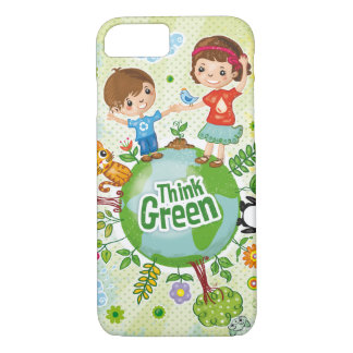 Think Green Eco Kids quote iPhone 7 Case