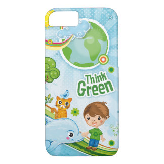 Think Green Quote Kids iPhone 7 Case