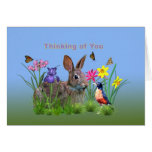 Thinking of You, Bunny Rabbit,  Robin, and Flowers Greeting Card