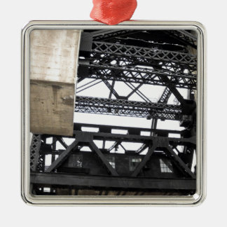 Third Street Bridge Vertical Silver-Colored Square Decoration