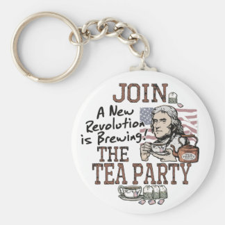 Thomas Jefferson Tea Party Shirts and Gifts Basic Round Button Key Ring