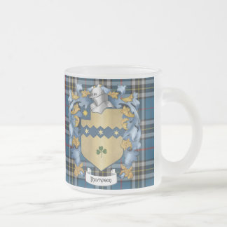Thompson Family (Irish) Coat of Arms Frosted Glass Mug