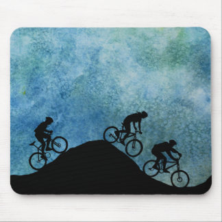 Three Bikers on Against a Blue Sky Mouse Pad