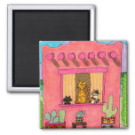 Three Cats in a Pink Adobe House Square Magnet
