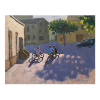 Three children with bicycles Spain Postcard