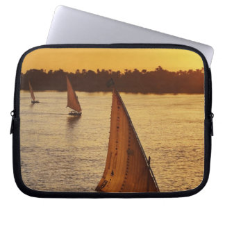 Three falukas with sightseers on Nile River at Laptop Sleeves