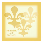 Three Fleur de Lis Golden Impressions 13 Cm X 13 Cm Square Invitation Card