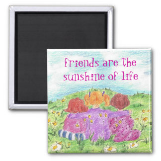 Three Friends Summer Flower Meadow Square Magnet