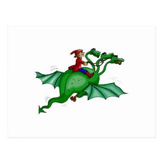 Three-Headed Dragon with Rider Postcard