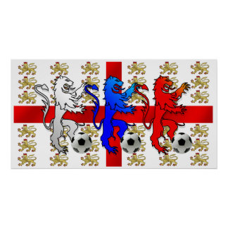 Three Lions football players England Poster