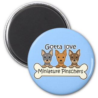 Three Miniature Pinschers 6 Cm Round Magnet