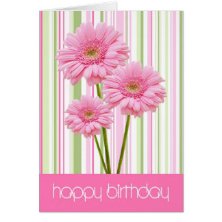 Three Pink Flowers and Stripes Birthday Card